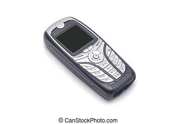 携帯電話, 単純である, 隔離された, 黒い背景, 白