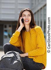 携帯電話, 女性, モデル, 話し, 外, 学生, 幸せ