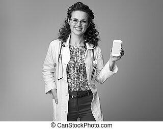 携帯電話, 女, 提示, pediatrist, 空白 スクリーン, 幸せ