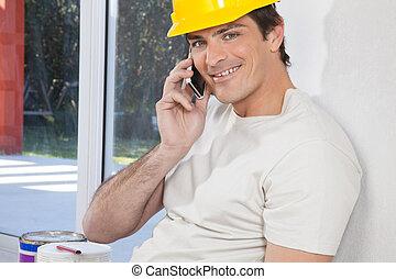 携帯電話, 建築作業員