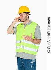 携帯電話, 建設, 論じる, 労働者, 若い
