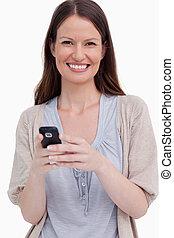 携帯電話, 彼女, 終わり, 微笑, の上, 女