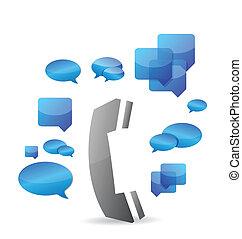 携帯電話, 概念, デザイン, チャット, イラスト