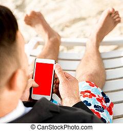 携帯電話, 浜, 保有物, ビジネスマン