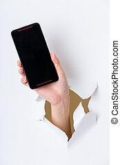 携帯電話, 穴, ペーパー, によって, 手
