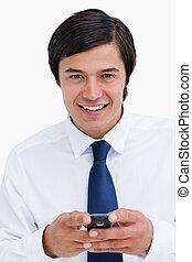 携帯電話, 終わり, 彼の, 商人, 保有物, 微笑, の上