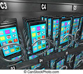 携帯電話, 販売, 電話, 機械, 電話, 購入, 痛みなさい