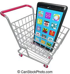 携帯電話, 買い物, apps, 電話, カート, 電話, 痛みなさい, 新しい, 購入