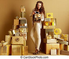 携帯電話, fashion-monger, スクリーン, 箱, ブランク, 提示, プレゼント