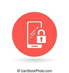 携帯電話, smartphone, 安全である, モビール, 錠, 印。, シンボル。, ナンキン錠, ベクトル,...
