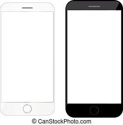 携帯電話, smartphone, mockup, モビール, 現代, 電話, ブランク, 電話, テンプレート,...