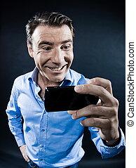 携帯電話, toothy, 保有物, 微笑, 肖像画, 人