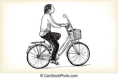 摆脱自行车, a, 妇女, 自由, 手, 图, 矢量, 同时,, 描述