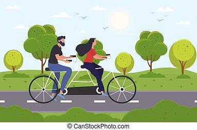 摆脱, 沥青, 夫妇, 年轻, 自行车, 道路