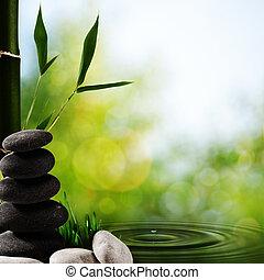 摘要, 亞洲人, 礦泉, 背景, 由于, 竹子, 以及, 卵石