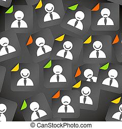 摘要, 人群, ......的, 社會, 媒介, 賬戶, avatars., seamless, 背景