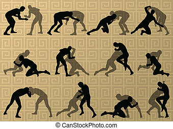 摘要, 人, 摔跤, 羅馬, 插圖, 希臘語, 黑色半面畫像, 矢量, 背景, 活躍, 運動
