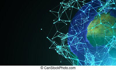 摘要, 全球, 由于, 數字, connections., 通訊, 概念