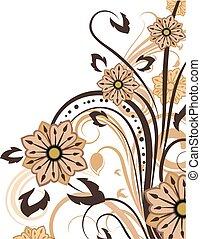 摘要, 原色嗶嘰, 以及, 布朗, 植物, 背景, 由于, 模仿, space.