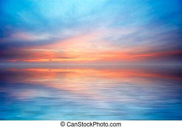 摘要, 大海, 同时,, 日落