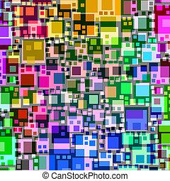 摘要, 廣場, 重疊, 鮮艷, shapes.