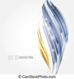 摘要, 明亮的藍色, 以及, 金, 背景, 矢量