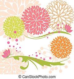 摘要, 春天, 鮮艷, 花, 以及, 蝴蝶