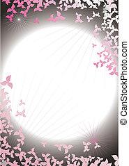 摘要, 框架, 從, 花瓣, 上, a, 背景, ......的, the, 夜晚天空