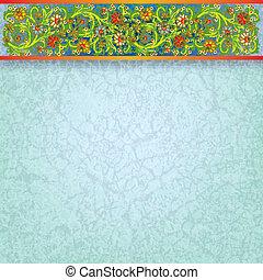 摘要, 植物群, 装饰物, 在上, 蓝的背景