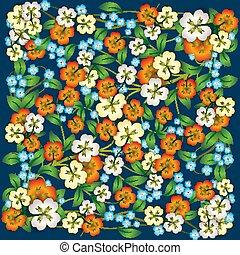 摘要, 植物群, 装饰物, 在上, 蓝色