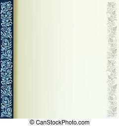 摘要, 植物群, 装饰物, 在上, a, 蓝的背景