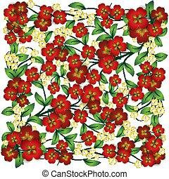 摘要, 植物群, 装饰物, 在怀特上, 背景