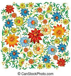 摘要, 植物群, 装饰物, 隔离, 在上, a, 白色