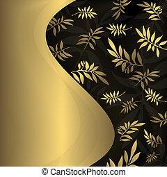 摘要, 植物, 黑色和, 黃金, 框架