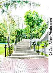摘要, 樓梯, 步驟, 在, 花園