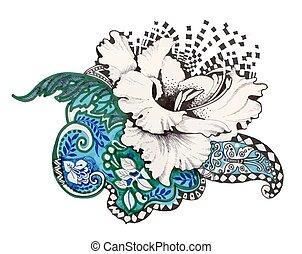 摘要, 氈制粗頭筆, 花, illustration.