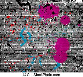 摘要, 沾污, 在上, 砖墙, 背景