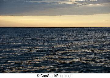 摘要, 海洋, 以及, 傍晚, 背景