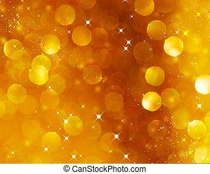 摘要, 灿烂, 金子, 假日, 圣诞节, texture., bokeh, 背景。