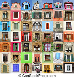 摘要, 牆, 做, ......的, 很多, 美麗, 老, windows, italy, 歐洲