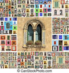 摘要, 牆, 做, ......的, 很多, windows, italy, 歐洲