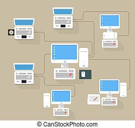 摘要, 現代, 网絡, 方案, 插圖