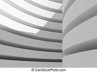 摘要, 白色, 建築學, 建築物, 3d, rendering
