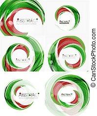 摘要, 矢量, 綠色, 背景, 漩渦, 線
