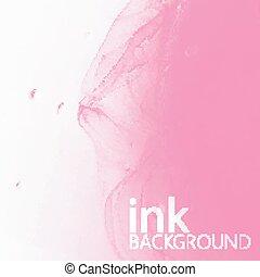 摘要, 矢量, 背景, ......的, 粉紅色, 流體, 墨水, 打旋, 在, water.