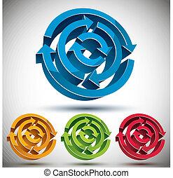 摘要, 箭, 矢量, 圖象, set., 圈, 3d
