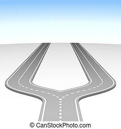 摘要, 簡單, 路, 叉子, 矢量, 背景。