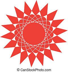 摘要, 紅太陽, 被隔离, 在懷特上, 背景