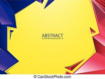 摘要, 紅黃色, 藍色, 背景。