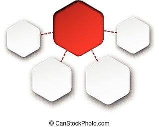 摘要, 紙, 筆記。, 六角形, infographics